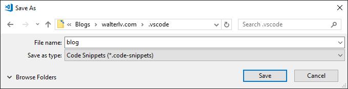 指定代码片段的名称