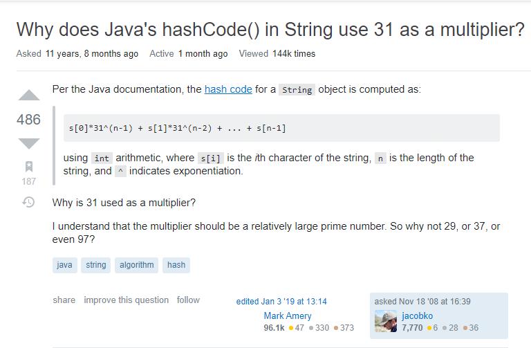 面经手册 · 第2篇《数据结构,HashCode为什么使用31作为乘数?》