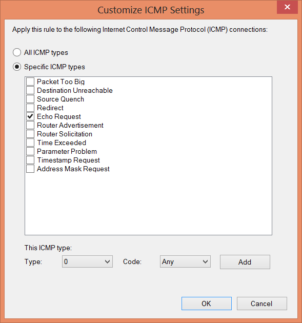 Image of Customize ICMP Settings dialog box