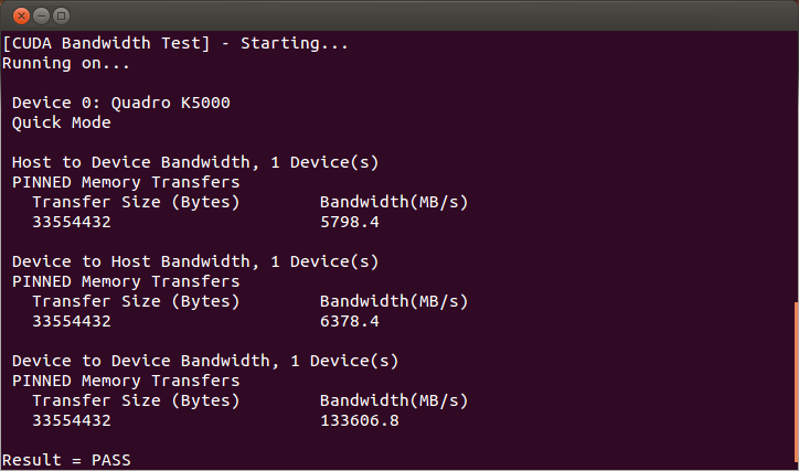 Valid Results from bandwidthTest CUDA Sample.