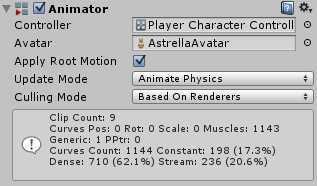 The Animator component with a controller and avatar assigned.