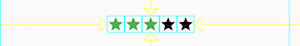 Row of 5 stars, packed together in the middle of the row