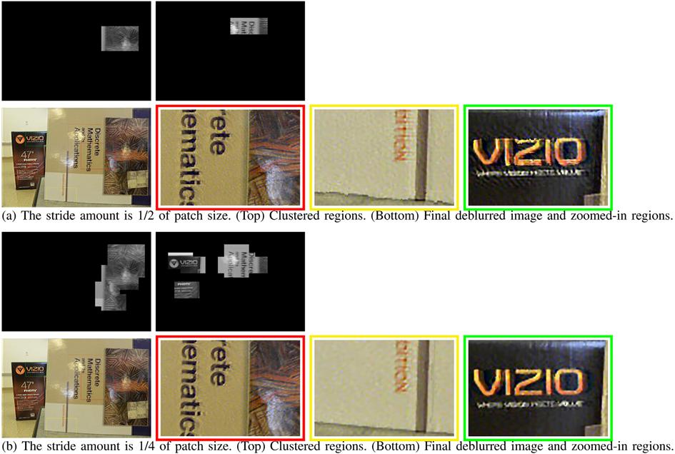 图 12 步长对聚类和最终去模糊的影响。每种情况下图像块的大小为312x208。