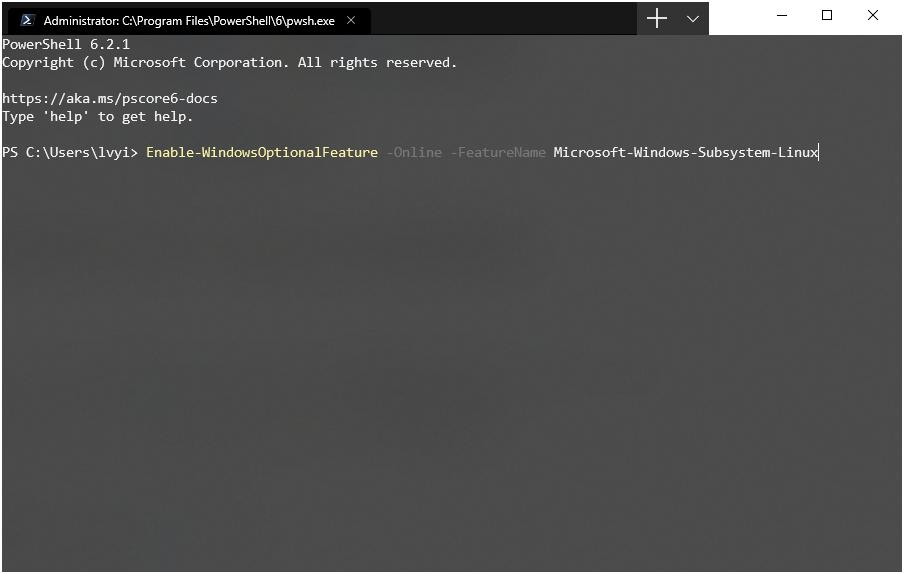 启用 Microsoft-Windows-Subsystem-Linux