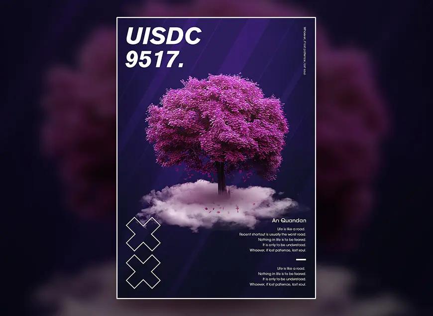 海报-教你快速学会梦幻紫色树木视觉海报制作