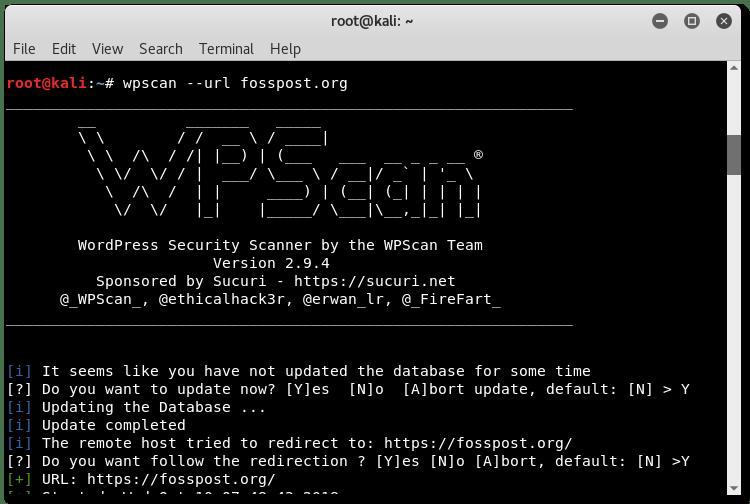 使用 Kali Linux 在 fosspost.org 上运行 wpscan
