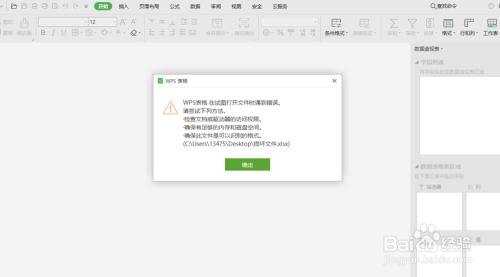 wps表格 在试图打开文件时遇到错误