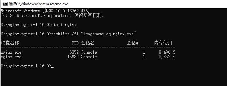 成功启动nginx