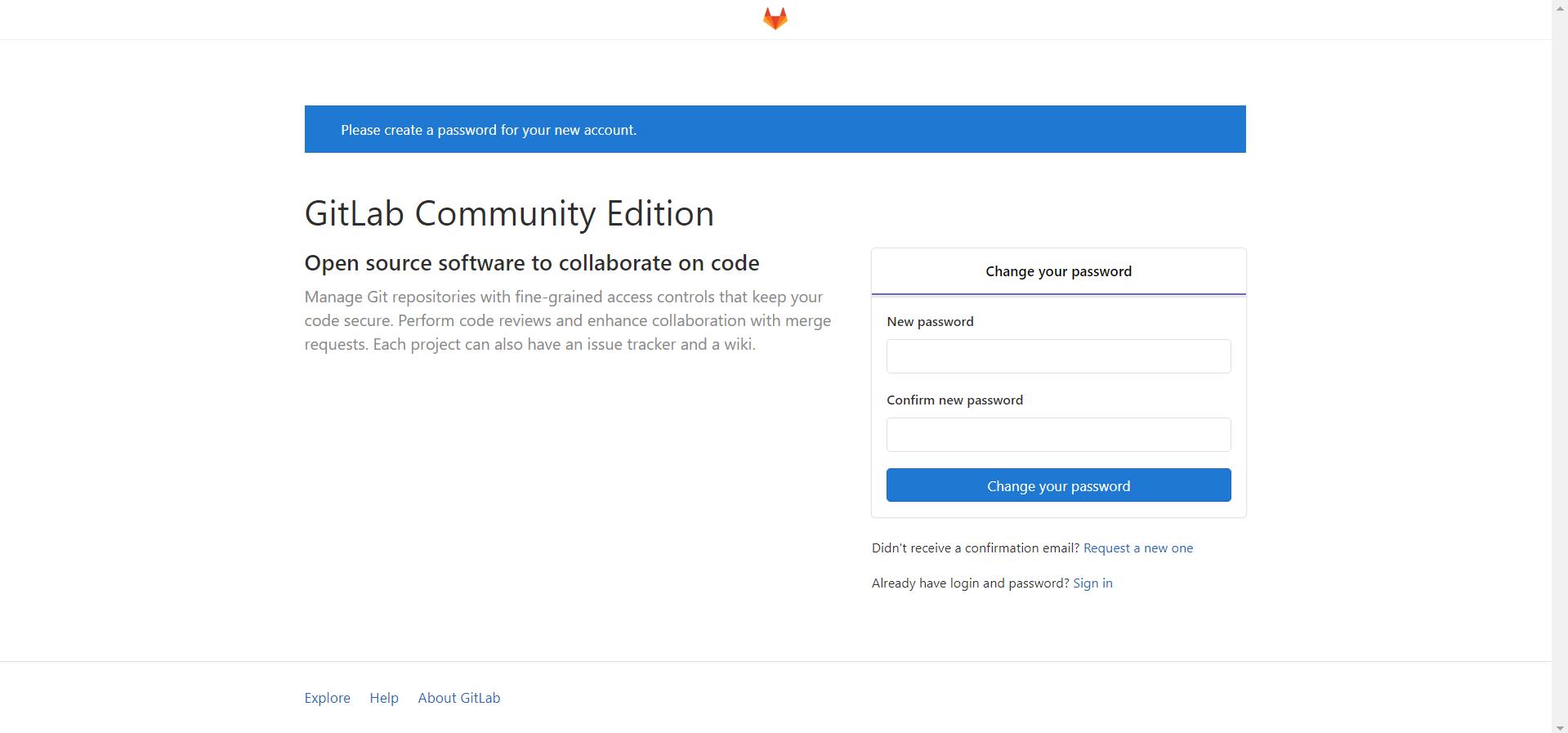 首次打开GitLab网址