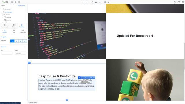 网页设计,使用拖拽的方式生成网页!JavaScript库——VvvebJs